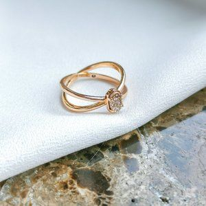 Rose Gold Emilie Sand Drusy Double Band Ring #7